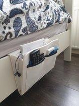 Bedside pocket - Vilten Opbergzak bed – Bank Table Bed Organizer – Tijdschriftenhouder – Lectuurbak – Armleuning organizer – Incl. 4 zelfklevende pads – Gebroken Wit