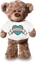 Beterschap pluche teddybeer knuffel 24 cm met wit retro t-shirt - beterschap...