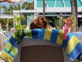 Klemmen / knijpers voor (bad)handdoek, strandlaken... Set van 4 stuks... Kleuren: 1x groen, 1x blauw, 1x oranje & 1x geel...