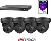 HIKVISION Exir Dome 4MP 2.8mm Black Set,  4K 4-channel recorder incl 2TB WD Purple, 4x EXIR 4MP Dome's 2.8mm + beugels en gratis netwerkkabel.