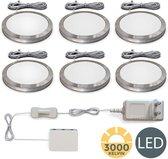 B.K.Licht - Keukenverlichting - onderbouwverlichting - kastlamp - rond - warm wit licht - set van 6