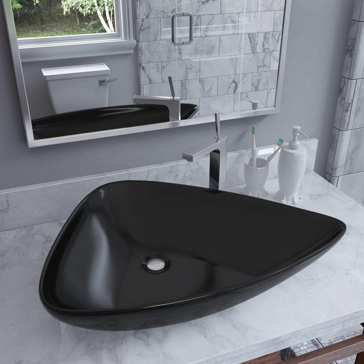 Wastafel driehoekig 645x455x115 mm keramiek zwart