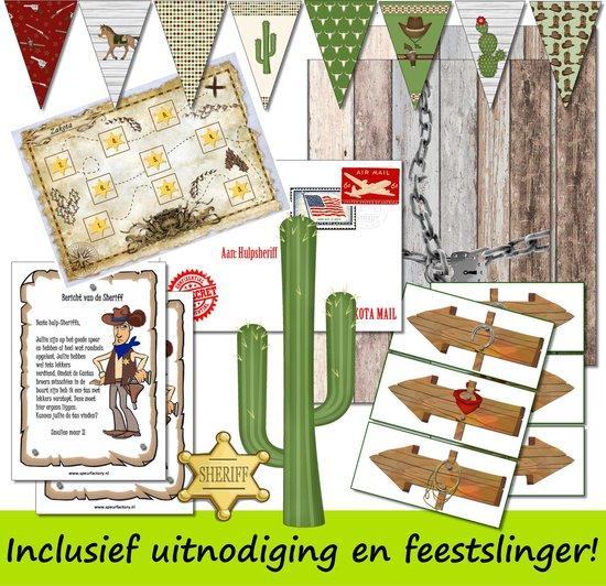 Thumbnail van een extra afbeelding van het spel Speurtocht voor kinderen - Dunne Mike & de Cactusbroers  - 4 t/m 6 jaar - kinderfeestje - speurtocht - speurpakket - compleet draaiboek - PRINT ZELF UIT!