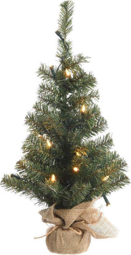 Everlands Mini Kunstkerstboom - 45cm - in jute zak - met verlichting