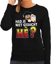 Funny emoticon sweater Had je niet gedacht he zwart voor dames - Fun / cadeau trui 2XL