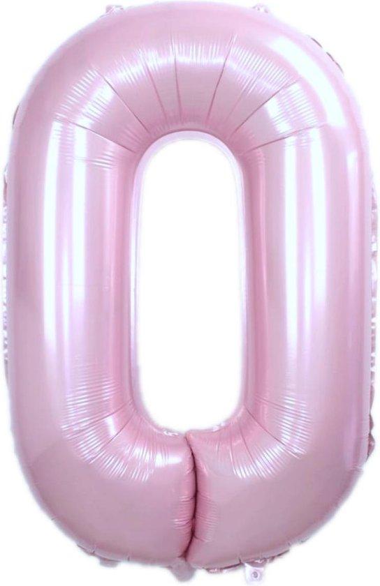 Folie Ballon Cijfer 0 Jaar Roze 86Cm Verjaardag Folieballon Met Rietje