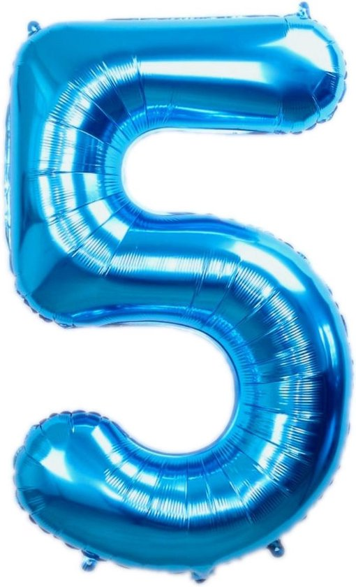 Folie Ballon Cijfer 5 Jaar Blauw 86Cm Verjaardag Folieballon Met Rietje
