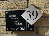 Naambordje voordeur strak lijnen met apart huisnummer zwart