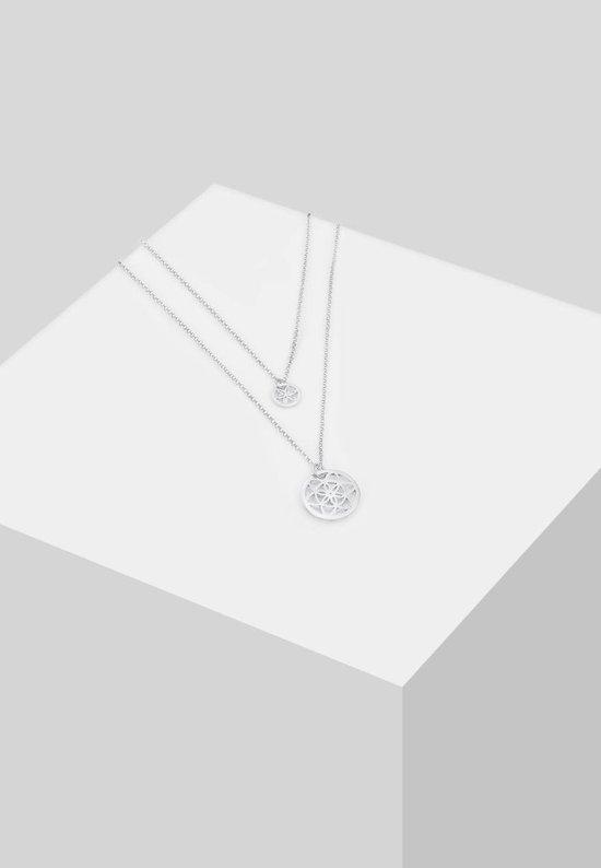Halsketting Set van 2 Levensbloem Moeder Dochter 925 Zilver