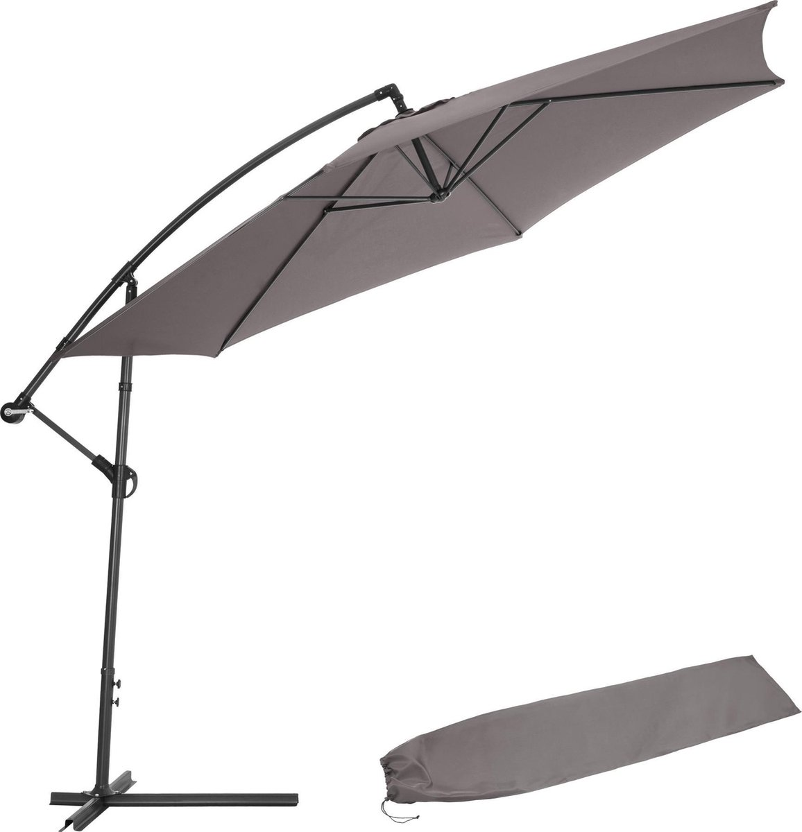 tectake -  Parasol 350 cm grijs - 403428