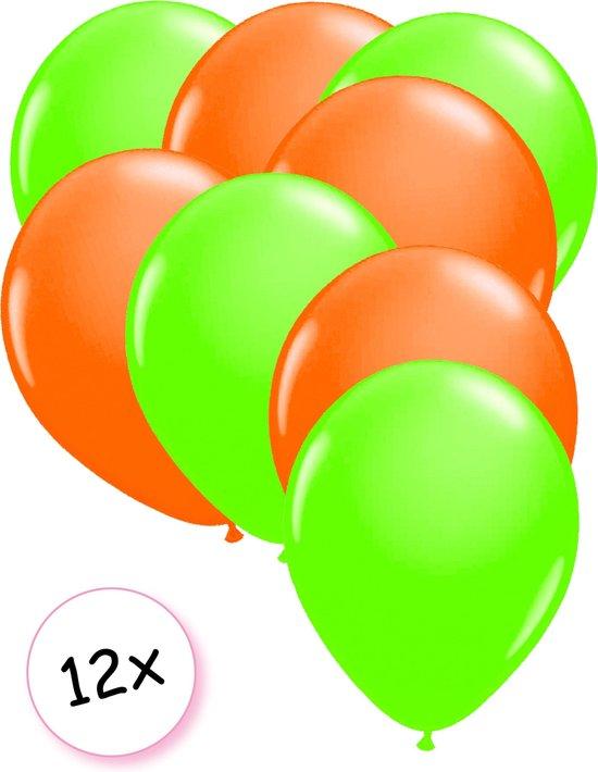 Ballonnen Neon Groen & Neon Oranje 12 stuks 25 cm