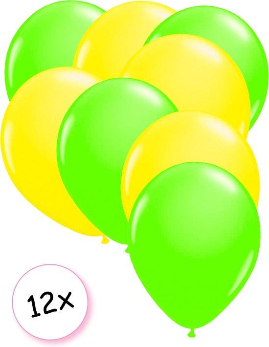 Ballonnen Neon Groen & Neon Geel 12 stuks 25 cm