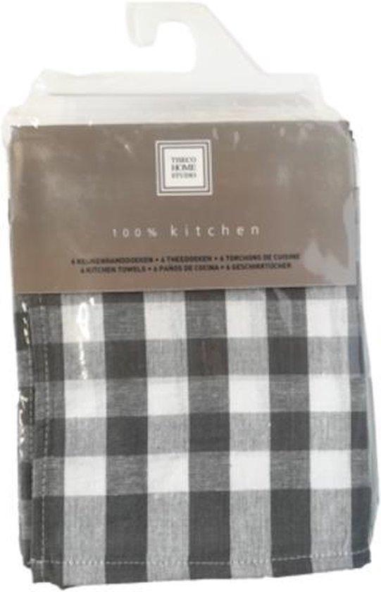 Set van 6 keukenhanddoeken Grey 50x70cm