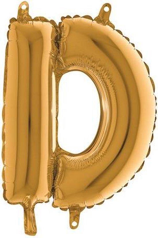 Grabo balloon - Folieballon - letter D -  goud - 35cm