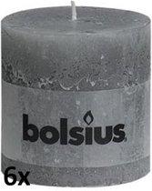 Bolsius Stompkaarsen Rustiek 100x100 - Grijs - 6 Stuks