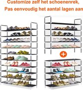 XXL Schoenenrek 10 Laags - Opbergsysteem voor 50 Paar Schoenen - Schoenenkast 10 Etages - Schoenenplank Opberger - Stevig Staand Opberg Rek - Shoe Rack Organizer – Kunststof – Zwart