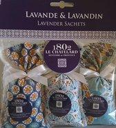 Geurzakjes met Lavendel en Lavandin Bleu azur (3 x 18 gram)  - Geurzakjes voor in kledingkast