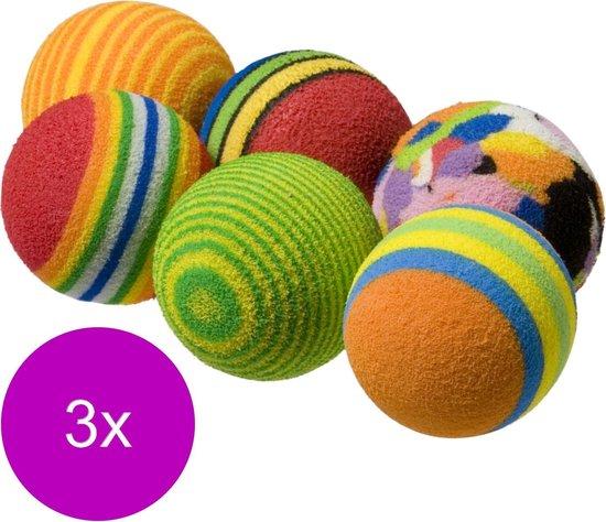 Adori Speeltje Bal Regenboog - Kattenspeelgoed - 3 x Multi-Color 6 stuks