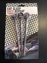 Eat Sleep Race Repeat - Teken set - 3 Potloden met race auto gum - Kinderen Tekenen School