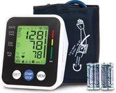 LifeGoods Bloeddrukmeter Bovenarm met Automatisch Oppompen - Hartslag en Bloeddruk Meten - Wit/Zwart