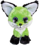 Lumo Stars Knuffel Fox Lime Junior 15 Cm Pluche Zwart/groen