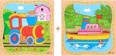 2 Houten Puzzels van 16 stukjes | Legpuzzels | Boot en Trein | Kinderen | Peuters | Kleuters
