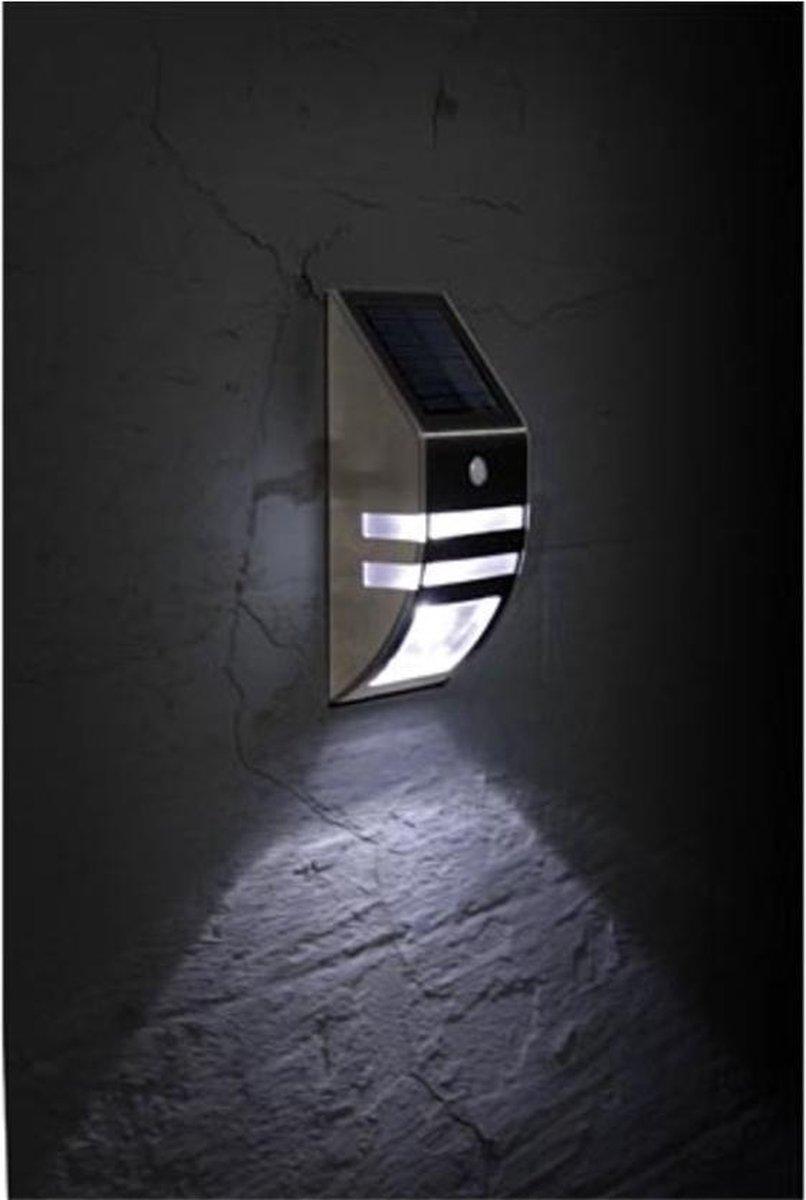 Solar Led Zonne-Energie   Wandlamp   Buitenverlichting   met bewegingssensor  Tuinverlichting   RVS