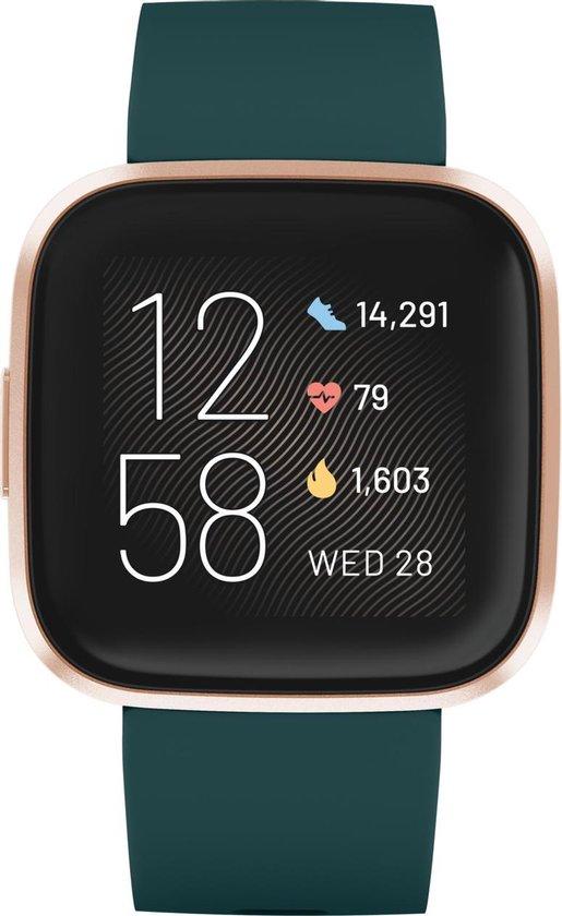 Fitbit Versa 2 - smartwatch - Groen met gouden rand
