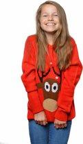 Foute kersttrui kind rood rendier.