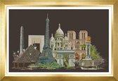 Thea Gouverneur - Borduurpakket met telpatroon - 472.05 - Voorgesorteerde DMC Garens - Parijs - Zwart Aida - 79 cm x 50 cm - DIY Kit