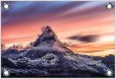 Tuinposter –Bergtop met Zonsondergang– 90x60 Foto op Tuinposter (wanddecoratie voor buiten en binnen)