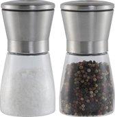 Peper en zout molen set van glas,  groot formaat ! RVS