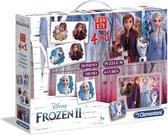 Clementoni - Edukit 4 in 1 - Disney Frozen 2 (puzzelblokken, domino spel, puzzel 30  stukjes en memo) - educatief spel, kaartspel, speelgoed 3 jaar