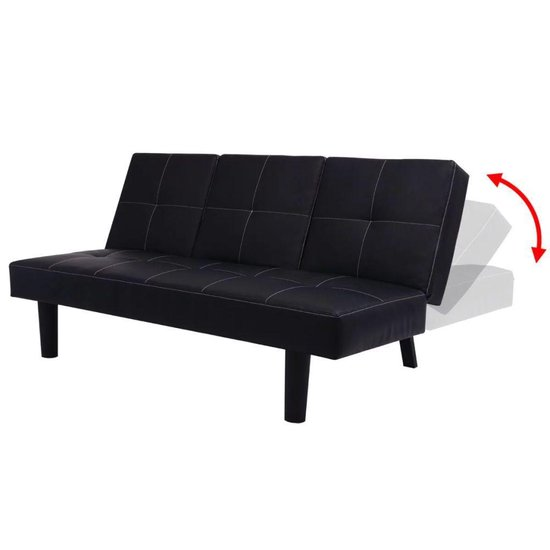 vidaXL Slaapbank met uitklaptafel namaakleer zwart - vidaXL