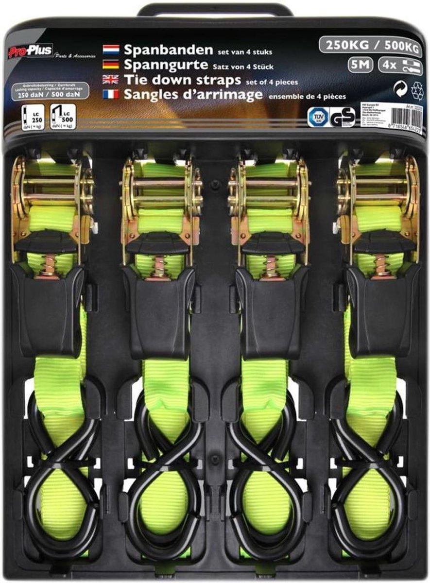 ProPlus spanband met ratel + 2 haken - set van 4 stuks - 5 mtr.