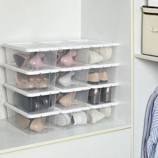 Set van 12 stapelbare schoendozen met wit deksel en ventilatie gaten - Tot Max. Maat 41 - Bescherming tegen stof en vochtigheid - Transparant met wit deksel