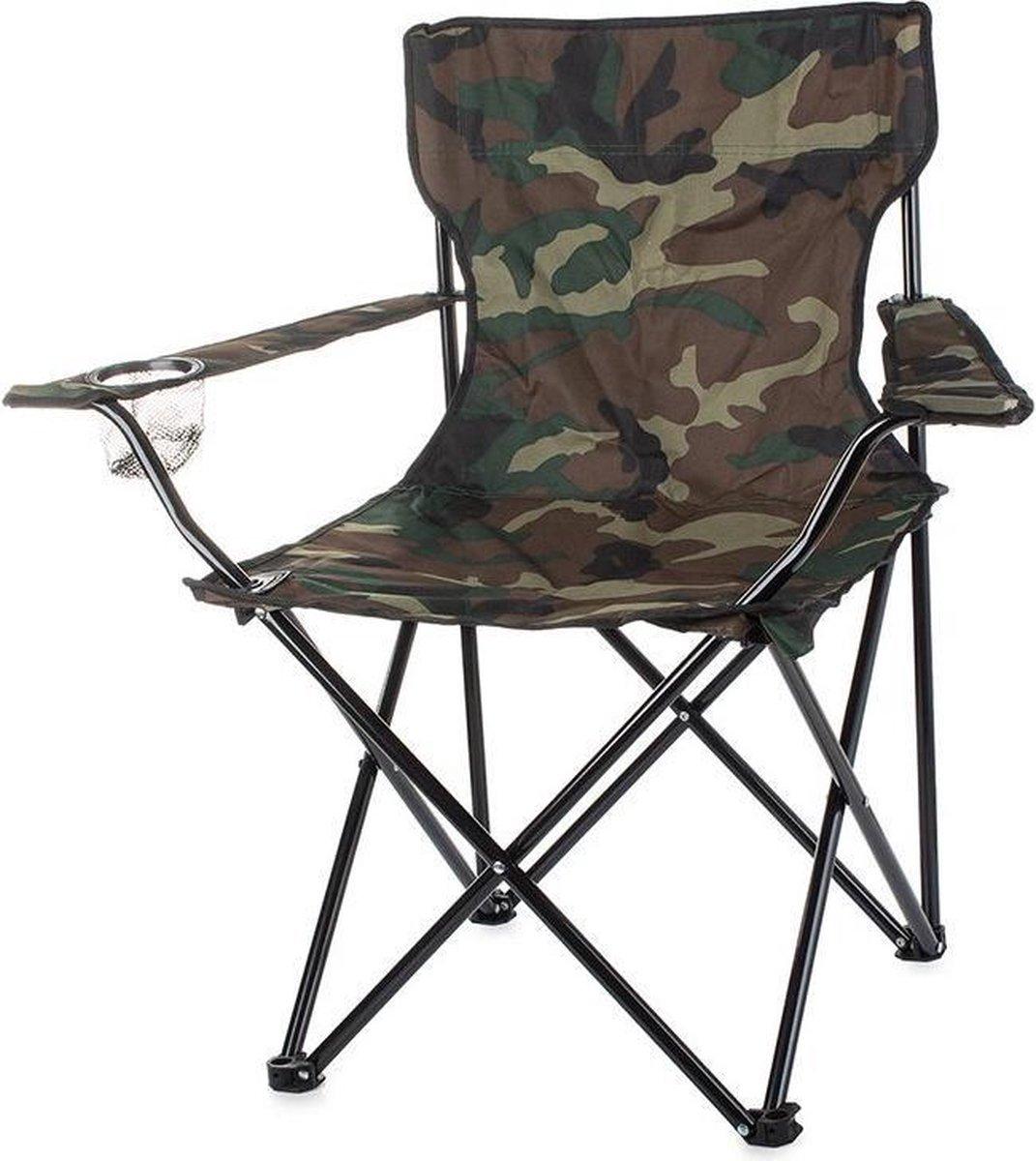 Grote reisvisstoel met camouflageprint- Visstoel- Campingstoel- Camping- Caravan-Camper