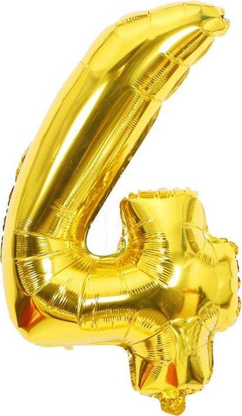 Cijfer ballon 4 jaar Babydouche - goud folie helium ballonnen - 100 cm - gouden vier verjaardag versiering
