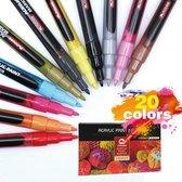 Afbeelding van Premium Acryl Verfstiften - Fijn - 0.7 mm - 20 Kleuren - Waterbasis