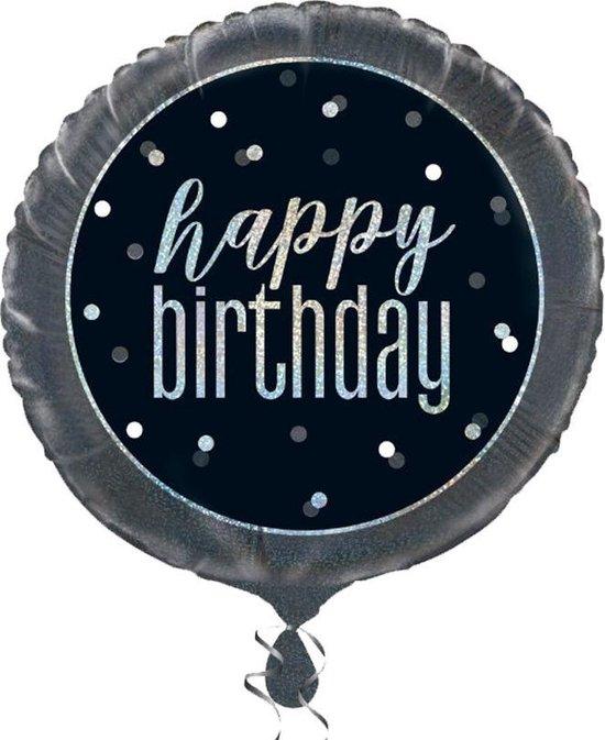 Helium Ballon Happy Birthday Glitter Zwart 45cm leeg