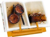 QUVIO Kookboekstandaard - Boekenstandaard - Tabletstandaard - 3 standen verstelbaar - Hout - Met bladzijde houder - Boekenstandaard - Kookboekstandaard in keuken - Boekensteun - Inklapbaar
