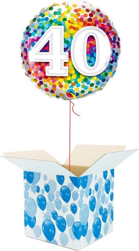Helium Ballon Verjaardag - gevuld met helium - 40 Jaar - Confetti dots - Cadeauverpakking - Happy Birthday - Folieballon - Helium ballonnen verjaardag