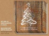 Luxe kerstkaarten met enveloppen, Hout en zilver - 10 stuks