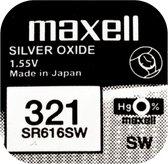 MAXELL 321 / SR616SW zilveroxide knoopcel horlogebatterij 2 (twee) stuks