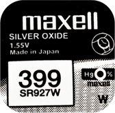 MAXELL 399 / SR927W zilveroxide knoopcel horlogebatterij 2 (twee) stuks
