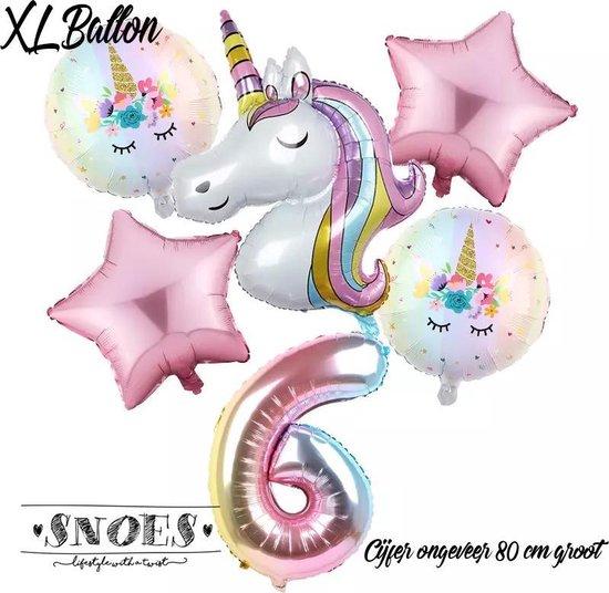 * Snoes * Unicorn * Eenhoorn  Licht Roze * Set van 6 Ballonnen XL * Unicorn Nummer 6 * Zesde verjaardag * Hoera 6 Jaar * Birthday