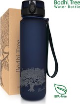 Bodhi Tree Waterfles - Drinkfles 1 Liter - Hygiënische Dop - Open Met 1 Hand - Fruitfilter - BPA Vrij Tritan - Water Bottle - Blauw   1 Liter