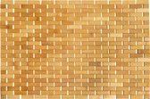 QUVIO Badmat van bamboo 70 x 50cm / Oprolbare anti-slip badmat hout - Bruin
