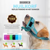 Oersterke muilkorf - Turquoise - maat XL - ideaal voor grote honden - tegen bijten, happen, slopen en poep eten - machine wasbaar - comfortabele fleece afwerking - reflecterend in het donker