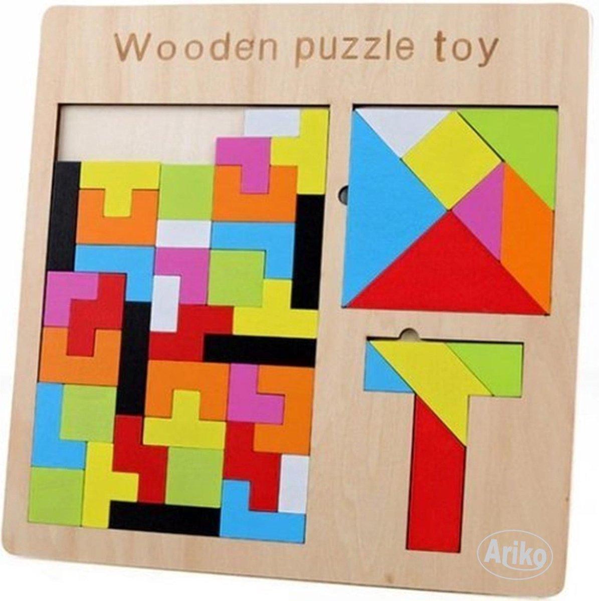 Ariko XL puzzel | tangram puzzel |russian block puzzel | houten puzzel | Tetris | kinderpuzzel | Tetris puzzel | houten speelgoed | 3 in 1